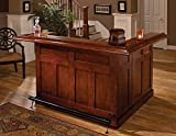 Traditional Large bar and side bar with wine rack, three drawers and cabinets in a Classic Cherry Finish; wine rack holds up to 12 bottles Large bar and side bar are separate pieces Overhang on bar side with Black metal footrest Assembly required.Thi...