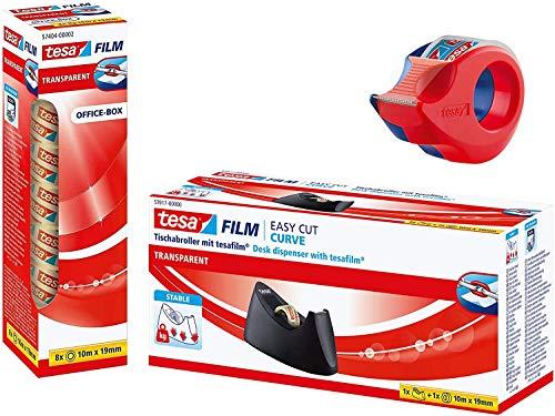 TESA Handabroller mini klar (+ 8 Rollen transparent & Tischabroller Easy Cut Curve)