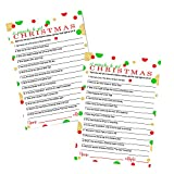 Christmas Trivia Game Cards Pack of 25 (Version 1) Festive Guessing Activity for Adults, Kids, Groups and Coworkers – Holiday Event Supply Red Green and Gold – 5x7 Size - Paper Clever Party