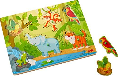 HABA 303181 - Sound-Greifpuzzle Im Dschungel | Kinderpuzzle ab 2 Jahren mit süßen Tiermotiven | Lustige Tiergeräusche sorgen für extra Spaß