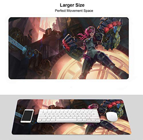 Extended Size Professional Gaming Mouse Pad for League Legends, Stitched Edges Ultra Thick 3Mm (Champion Vi)
