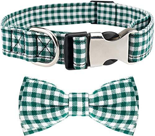 Etechydra Hundehalsband mit Fliege, Langlebiges Bequemes Baumwolle Halsband mit Metall Steckverschluss für Hunde und Katzen, Hundehalsband Grün M