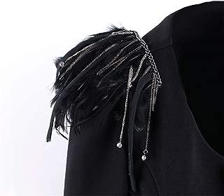 JIANGXIUQIN Fringe Shoulder Chain Unisex Black Feather Fringe Shoulder Boards Badge Stage Shoulder Tassel Chain EpauletCostumes Uniform Accessories Epaulette Shoulder Badge Uniform Accessories