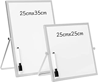 DOEWORKS Small A4 Magnetic Whiteboard Desktop Whiteboard, Double Sided Portable Drywipe Whiteboard Easel Reminder Board for Home, School, Office, 25 * 35cm