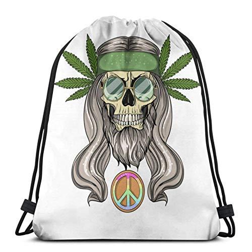 Hippie Skull con cordón para el cabello, bolsa de bapa para deporte, gimnasio, sapa impermeable, para hombres, mujeres, para viajes, yoga, playa, escuela