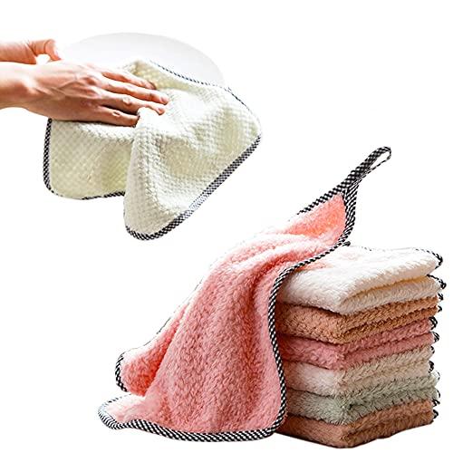 AJY Toallas de Cocina de Microfibra Toallas para secar Platos Paño de Limpieza Multifuncional Suave y Absorbente (Paquete de 10)