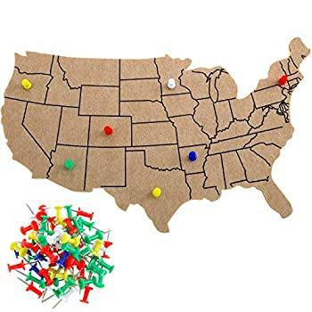 Felt USA Map USA Bulletin Board with 100 Push Pins United States Outline Board Map Decoration for Home Office Classroom Wall