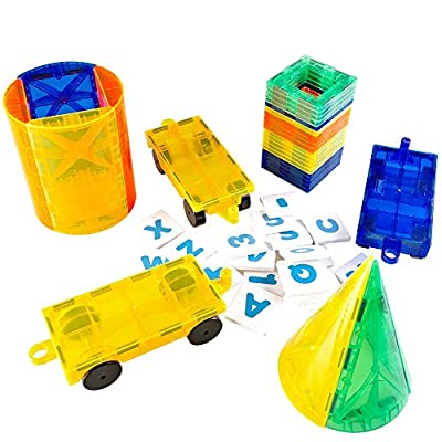 Mag-Genius The Perfect Add On Set Magnet Tile Gift, Comes With All The New Additions Includes 3 Cars, 20 Window Magnet Tiles W/Fun Clickins, And The All New Cones And Cylinder Design from KidsVoiceToys