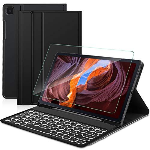 Sross Tastatur fur Samsung Galaxy TAB S6 LITE Galaxy TAB S6 LITE 104 Tastatur Kabellose Bluetooth QWERTZ Samsung Galaxy TAB S6 LITE 104 Zoll 2020 SM P610P615 Tastatur Hulle mit PanzerglasSchwarz
