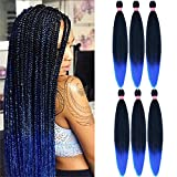 BETHANY Pre Stretched Braiding Hair Ombre Blue Braids Hair for Hair...
