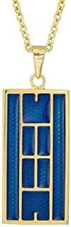"Blue Enamel Tennis Court Pendant 18kt Gold Plated Sterling Silver 18"""