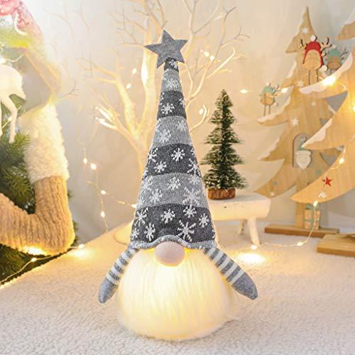 DENGHENG Weihnachtselfendekoration langer Hut schwedischer Zwerg Tomte Puppe Ornamente LED Licht grau