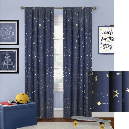 Better Homes and Gardens Night Sky Gold Metallic Curtain Panel Perfect to any Kind of Room (Navy, 52' x 63')