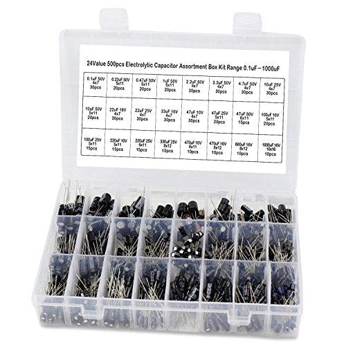 OCR 24Value 500pcs Electrolytic Capacitor Assortment Box Kit Range 0.1uF-1000uF