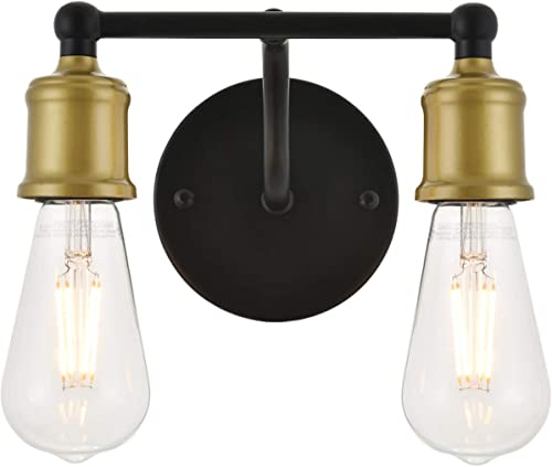discount Living District Serif 2021 2 Light Brass and Black Wall sale Sconce outlet sale