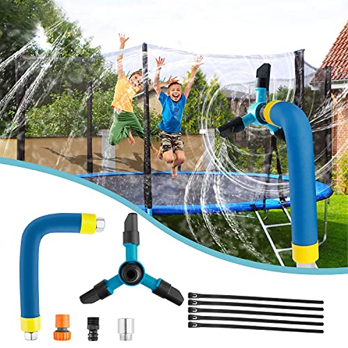 Hezruy Trampoline Sprinkler for Kids,360°Rotation Outdoor Water Play Sprinkler for Trampoline,Fun Summer Trampoline Accessories Backyard Water Game Toys for Boys and Girls