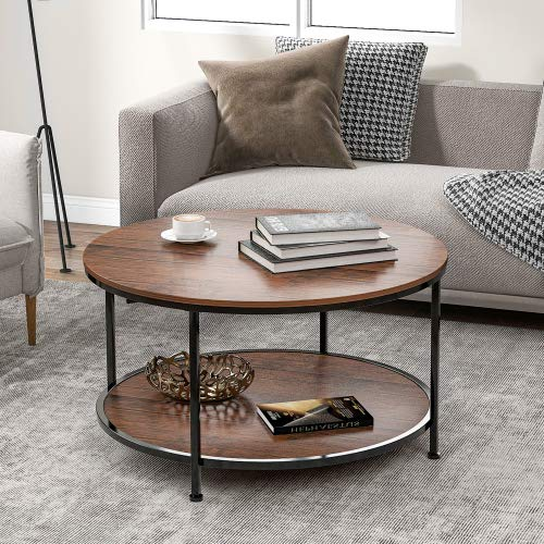 HLOEC Mesa redonda de café estilo industrial, mesa de café, mesa de cóctel, mesa de televisión, marco de metal duradero para dormitorio, sala de estar (marrón antiguo)