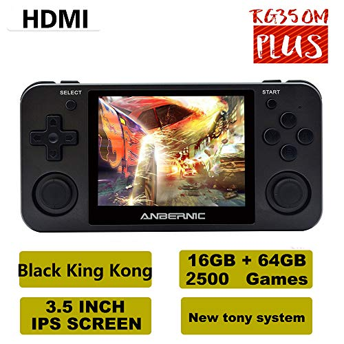 RG350M Handheld Game Console with Opening Linux Tony System HDMI Output 64Bit 3.5inch IPS Screen , Retro Game Console with 32G TF Card 2500 Classic Games Portable Video Game Console (Black)