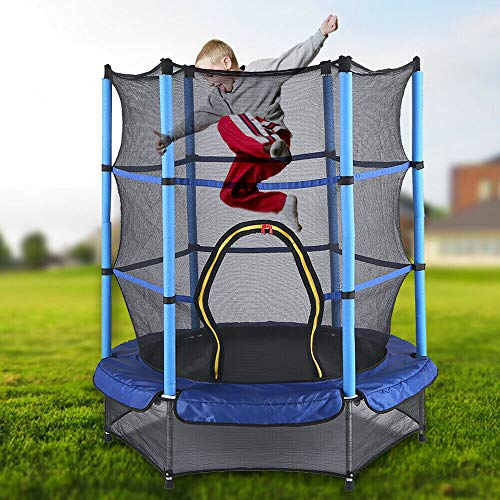 Kaibrite 50 kg Children's Indoor Outdoor Garden Trampoline Diameter 140 cm with Safety Net Red/Blue (Blue)