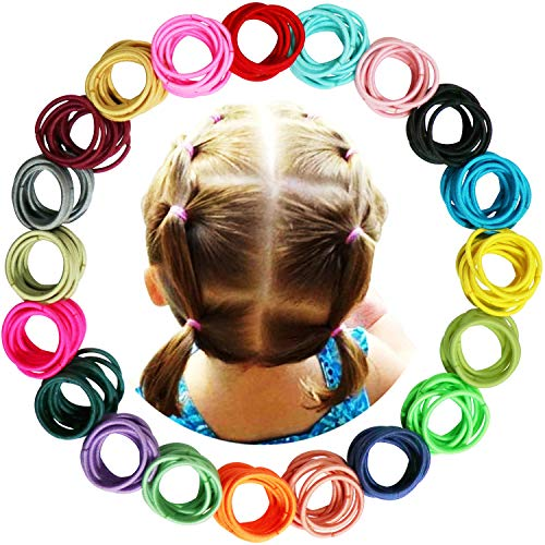 WillingTee 200 Pieces Multicolor Baby Girls Hair Ties Finger Hair Ties No Crease Hair Bands Ponytail Holder Hair Accessories for Baby Girls Infants Toddlers(2cm in Diameter)
