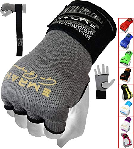 EMRAH Pro Boxing Hand Wraps Inner Gloves for Punching Padded Bandages Under Mitts, Quick Wraps, Fist Protector - MMA, Muay Thai, Kickboxing & Martial Arts Training (Grey, Large)