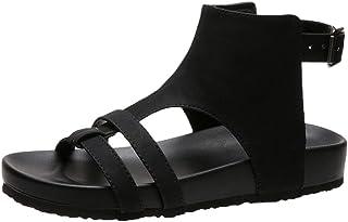 Dasongff Casual Gladiator sandalen voor dames, onregelmatige uitholling, vintage schoenen met platte hak, slingback zomerm...