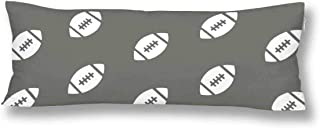 INTERESTPRINT Rugby Ball American Football Grey Body Pillow Case Pillowcase, Home Bedding Rectangle Pillow Covers Zipper 21x60 Inches Twin Sides