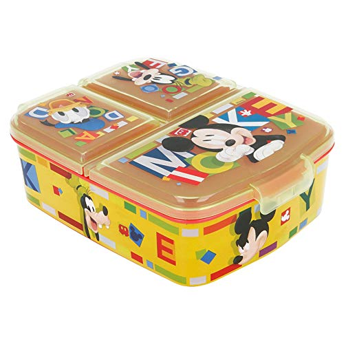 Fiambrera con 3 compartimentos, diseño de Mickey Mouse