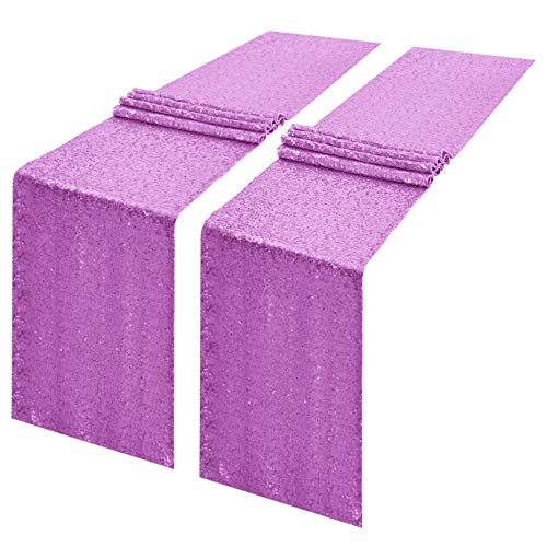 2 Packs 12 x 108 inches Lavender Sequin Table Runner, Glitter Lavender Purple Table Runner for Wedding Birthday Bachelorette Holiday Party Supplies Decorations Bridal Shower Baby Shower