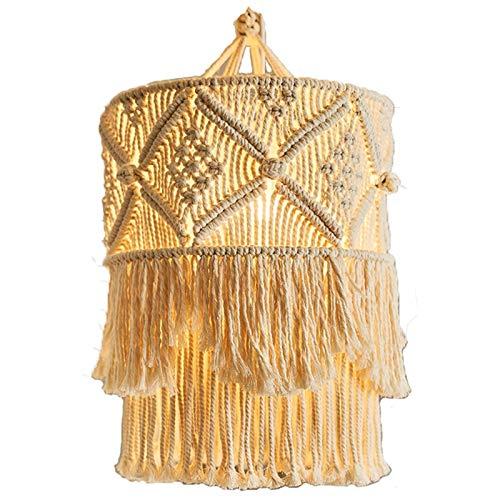 ZLASS Pantalla de Encaje, Forma de lámpara de Linterna de Encaje Bohemia, lámpara de Borla de algodón Hecha a Mano, Utilizada para decoración de dormitorios, Salas de Estar y dormitorios