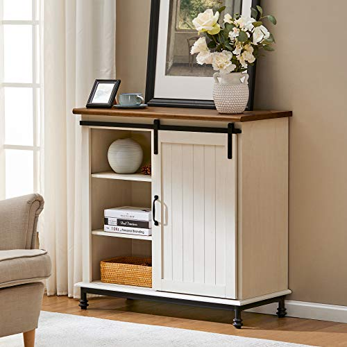 WAMPAT Farmhouse Sliding Barn Door Accent Cabinet Buffet Entryway Bar Storage Table for Living Room, Bathroom and Home Kitchen, 35 Inch, White
