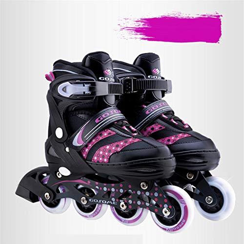 GPFDM Unisex-Inline-Skates,Einstellbare Rollschuhe Mit Leucht PU Räder Dreifach Schutz Leichte Inline Skates,A,L