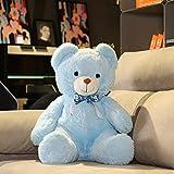 Regalo de Navidad grande oso de peluche peluche almohada de peluche niños suave juguete muñecas regalo decoración niñas niños habitación XXL azul 9.8 ''