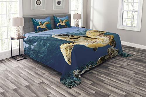 ABAKUHAUS Schildkröte Tagesdecke Set, Karettschildkröten, Set mit Kissenbezügen Klare Farben, für Doppelbetten 220 x 220 cm, Blaue Lila Gelb