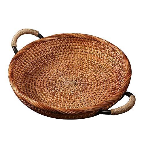Wusfeng HongBin-Korb, Rattan Runde Brotkorb, Vintage Style Woven-Behälter mit Griff, Platter Kaffee oder Esstisch Geeignet für Küchentisch (Color : Wood Color)