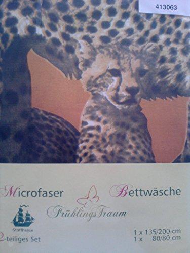 frühlingstraum - microfaser - motiv - bettwäsche - VERSCHIEDENE MOTIVE!! - leoparden - afrika- kopfkissen mit wendemotiv - bezug: 135/2oo cm - kopfkissen: 80/80 cm