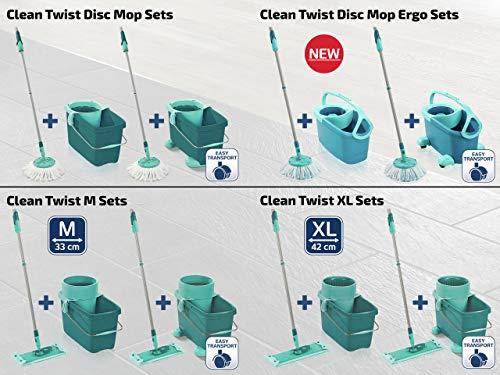 Leifheit Set de fregona rotatoria Clean Twist Disc Mop, fregona giratoria y cubo con ruedas, set de limpieza con sistema de regulación de la humedad