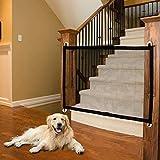 Barrera de seguridad para perros, puerta mágica para perros, gata, animales y animales retractables, barras, escaleras, cocina, puerta mágica para seguridad de bebé niño, 110 x 72 cm + 4 ganchos.