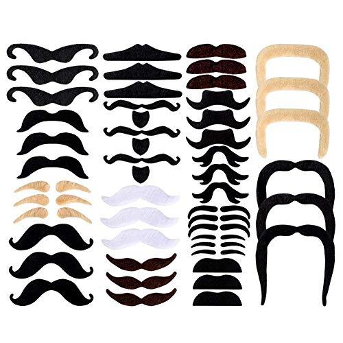 48 Stücke Gefälschte Schnurrbärte Selbstklebende Schnurrbart Klebebärte aufklebbarer falscher Bärte schickes Kostüm für Kinder und Erwachsene