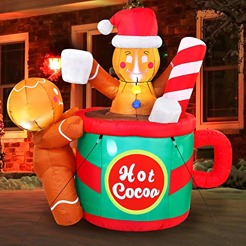 Joiedomi 6 FT Tall Gingerbread Man in Hot Cocoa Mug Inflatable with Build-in LEDs Blow Up Inflatables for Xmas Party Indoor, Outdoor, Yard, Garden, Lawn, Winter Decor, Christmas Inflatable Decoration