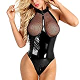 Jaysis Lingerie Latex Body Sexy Femme Ouverte Entrejambe Creux Erotique Seduction Vetement Club Body Lingerie Sexy Femme Coquine Ouverte En Bas Lingerie Sexy Femme Coquine Latex