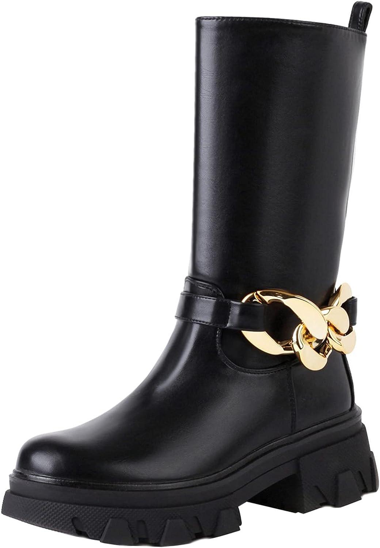 vivianly Women Block Heel Platform Boots Round Toe Mid Calf Boots Chunky Heel Ankle Booties
