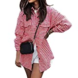 Gaeryuee Mujeres Solapa Pata De Gallo Botton Down Blusa Casual Camisa Manga Larga Suelta Tops Solo Breasted Swallowtail Coat, rosso, S