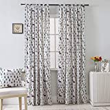 BROSHAN Cotton Tab Curtains Green and White, Modern Elk and Pine Tree Printed Drapes Panels for Indoor and Outdoor Widow Drapery Treatment Semi-Blackout,1 Panel