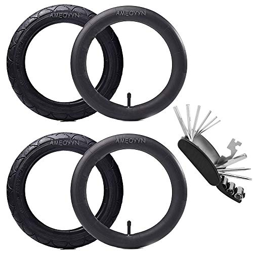 """AMEOYYN (2 Sets) 12""""/14""""/16"""" Kids Bike Replacement Tires and Inner Tubes Schrader Valve Bicycle Tube Quality Butyl Rubber, with Bike Multitool - Fits Most Kids Bikes (16"""" X 1.75/2.125)"""
