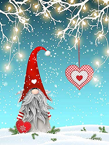 DIY 5D Diamond Painting by Number Kits,Crystal Rhinestone Diamond Painting Full Drill Embroidery for Adults and Beginner Diamond Arts Craft Home Decor Christmas Santa(12x16in)
