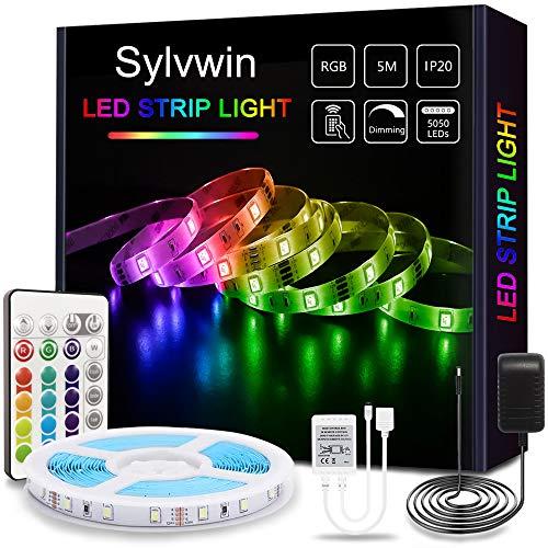sylvwin LED Streifen 5m RGB, LED Strip Lichterkette mit Fernbedienung,LED Stripes Lichtband Selbstklebend mit 16 Farbwechsel,4 Modi für Zuhause,Schlafzimmer,TV,Schrankdeko, Party,SMD 5050 LED Bänder