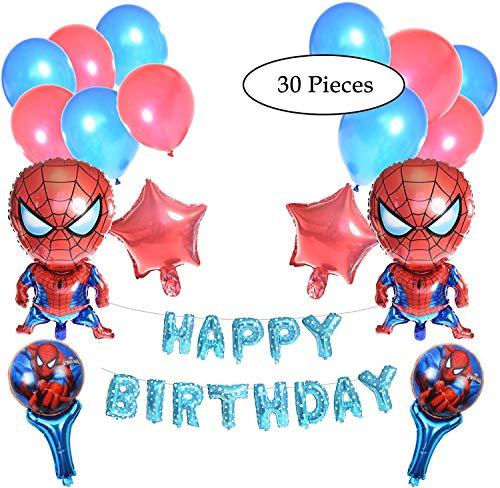 Decoración para fiesta de cumpleaños de Spiderman, 30 unidades, diseño de Spiderman, 2 globos de Spiderman, 40 cm, globos de mano, globos de mano de Spiderman, estrellas y globos de látex