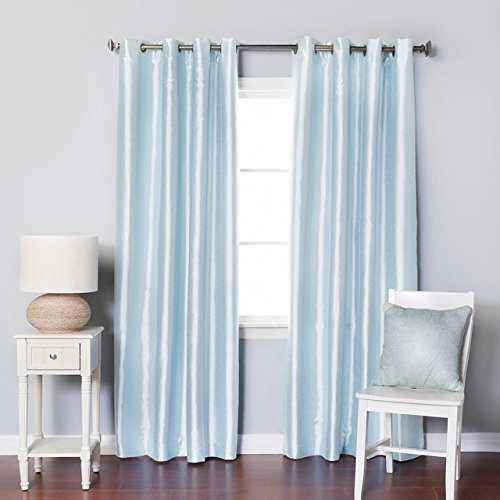 "Luxury Discounts 2 Piece Solid Light Blue Faux Silk Grommet Window Curtain Treatment Panel Drapes 54"" by 84"""