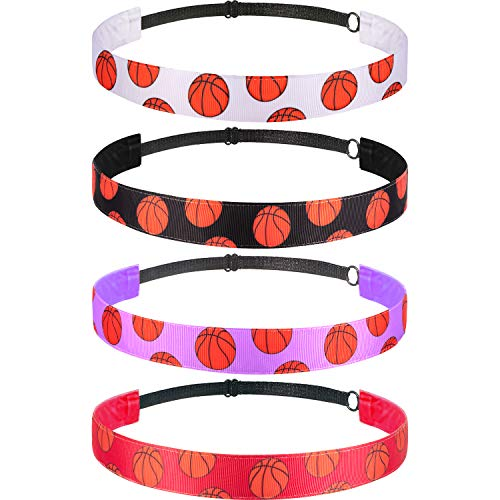 4 Pieces Girls Non-slip Basketball Headband Adjustable Basketball Hairband Girls Sports Hair Accessories (Black, Purple, Red, White)